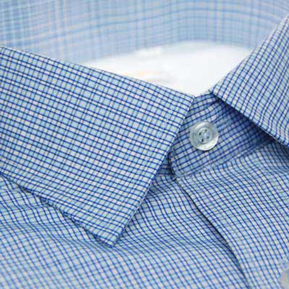 金‧安德森 白色藍色交錯格紋內裡刷毛長袖襯衫