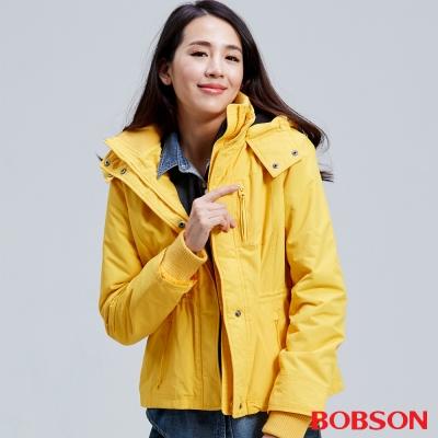 BOBSON 女款防風短外套(黃30)