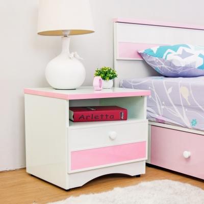 Birdie南亞塑鋼-貝妮1.6尺粉色塑鋼一抽床頭櫃-48x43x45cm