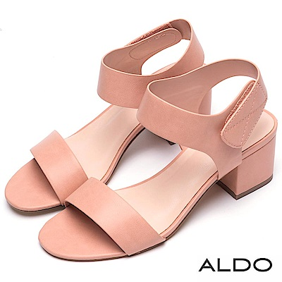 ALDO 原色一字繞踝魔鬼氈式粗跟涼鞋~春暖裸粉