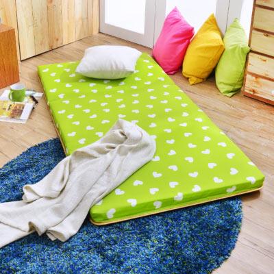 Saint Rose 台灣製 超值 單人透氣兩用便利三摺床墊 繽紛愛心-綠