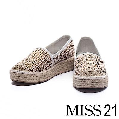 休閒鞋 MISS 21 度假風編織造型厚底草編鞋-白