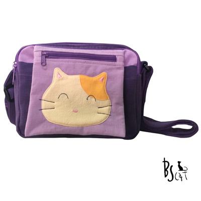 ABS貝斯貓 可愛貓咪拼布 肩背包 斜背包 (紫) 88-193