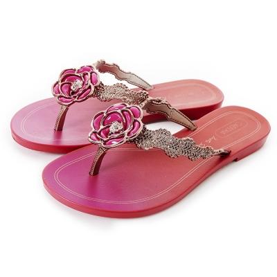 GRENDHA 華麗山茶花蕾絲風人字帶夾腳鞋-粉紅