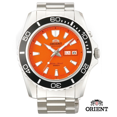 ORIENT 東方錶 WATER RESISTANT系列200m潛水錶-橘色/44.5mm