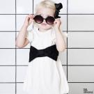 The Tiny Universe 瑞典 米白可拆黑色蝴蝶結腰帶短袖派對洋裝