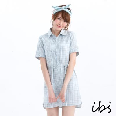 ibs半開襟棉質格紋洋裝-水藍格