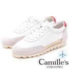 Camille's 韓國空運-牛皮拼接內增高運動球鞋-白色