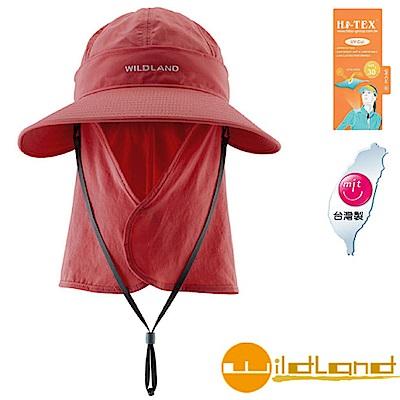 【荒野 WildLand】中性抗UV可脫式遮陽護頸帽.休閒帽_赭紅色
