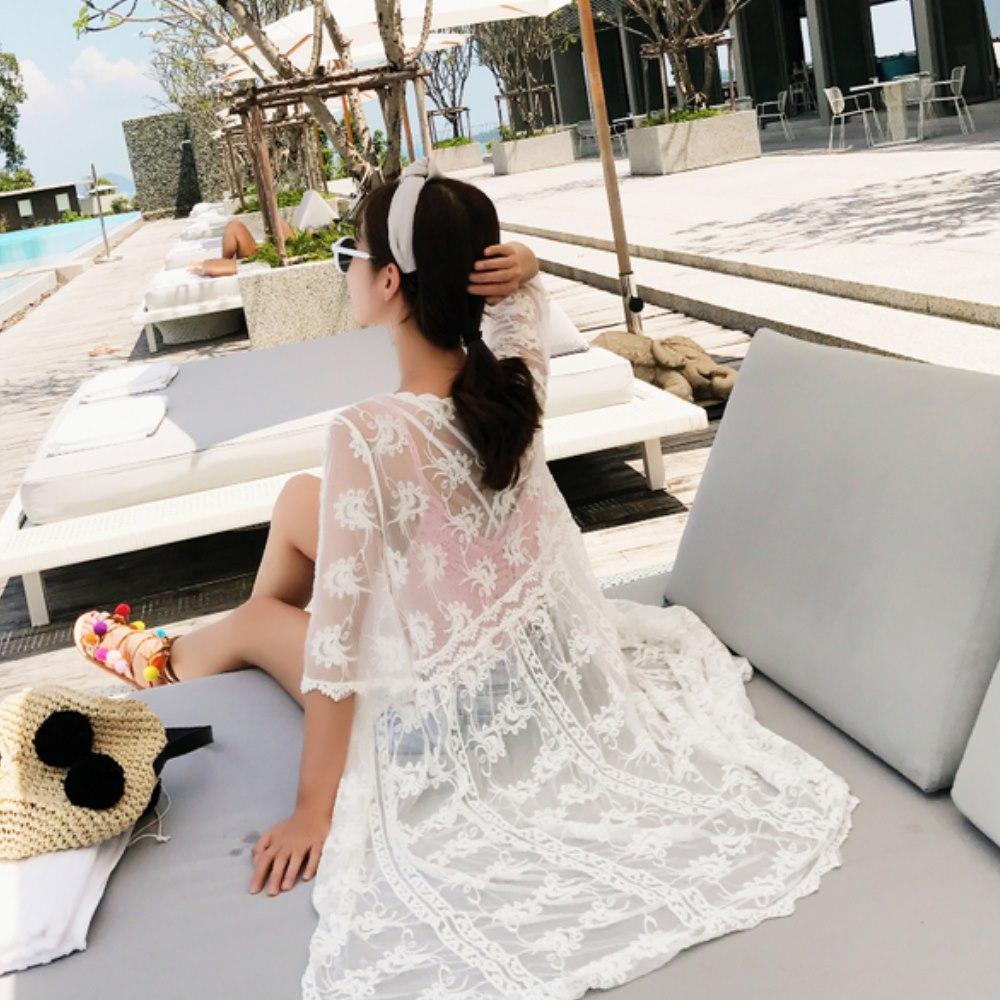 La Belleza刺繡鉤花接紗蕾絲鏤空超長版罩衫開襟外套