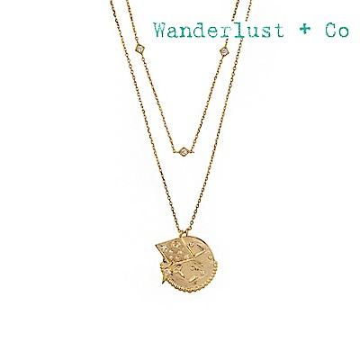 Wanderlust+Co 澳洲時尚品牌 INES宇宙星系鑲鋯吊牌項鍊 金色