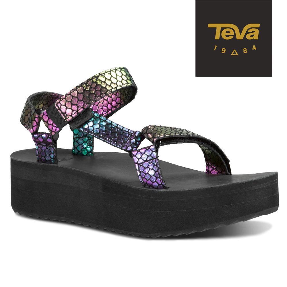 TEVA 美國-女 Flatform Universal 真皮厚底涼鞋 (蛇紋紫)