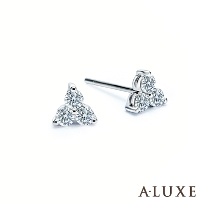 A-LUXE 亞立詩 18K金 40分雪花鑽石耳環