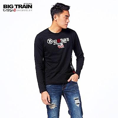 BIG TRAIN 日式潮風圓領長袖-男-黑色
