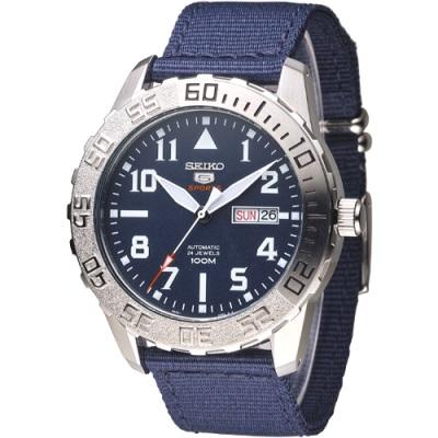 SEIKO 野地戰將百米5號24石機械男錶(SRP759K1)-深黑藍/43mm