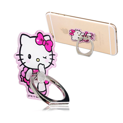 三麗鷗授權 Hello Kitty 凱蒂貓手機防摔造型指環扣 手機支架(摀嘴)