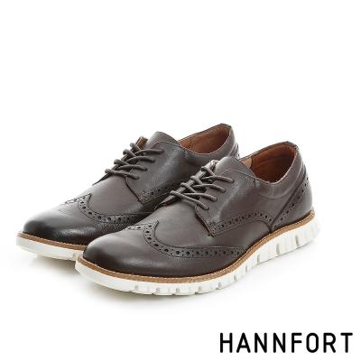 HANNFORT ZERO GRAVITY真皮翼紋德比氣墊鞋-男-深邃咖