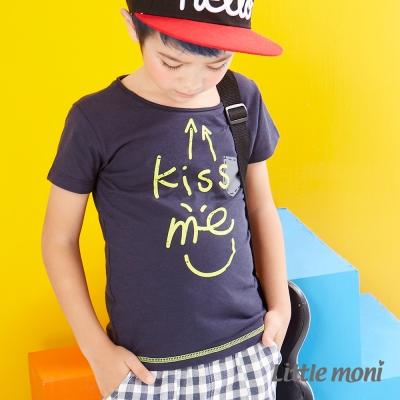 Little moni kiss me造型印圖棉T 靛藍