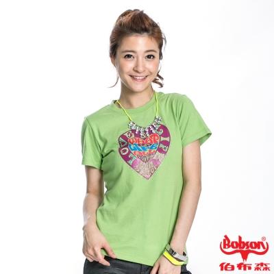 BOBSON 女款心型印圖短袖上衣(果綠40)