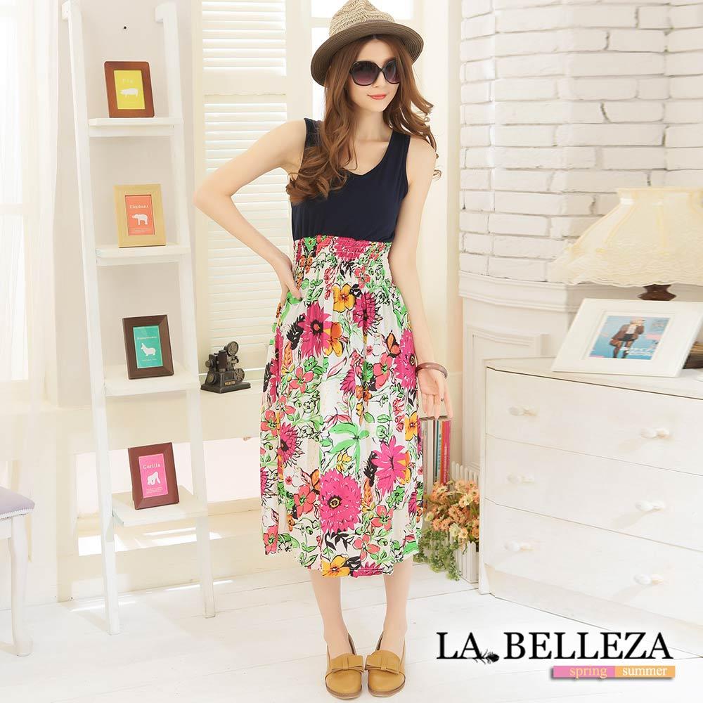 La Belleza紅色向日葵拼接背心縮腰滑布長洋裝