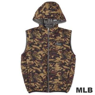 MLB-紐約洋基隊雙面穿連帽鋪棉迷彩背心-灰(男)
