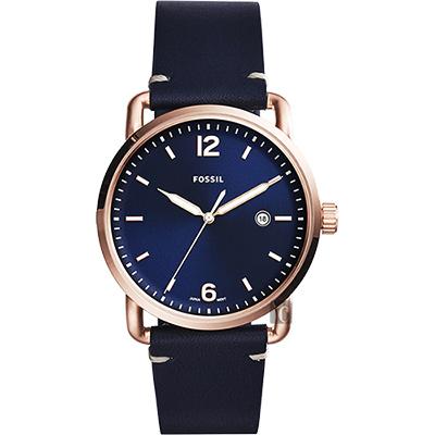 FOSSIL Commuter 尊爵時尚腕錶(FS5274)-藍x玫塊金框/42mm
