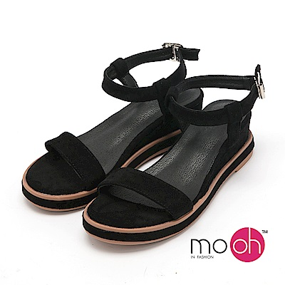 mo.oh - 全真皮-麂皮絨繞帶一字楔型厚底涼鞋-黑色
