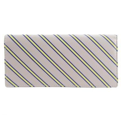 agnes b.斜紋兩折長夾(灰底黃線)