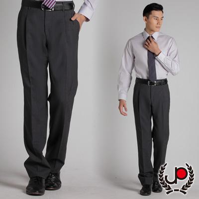極品西服-質感高雅.混紡羊毛雙褶西裝褲_灰底藍條(BS317-<b>2</b>)