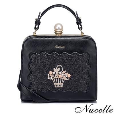NUCELLE 花漾年華珍珠釦小方包 貴族黑