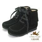 天使童鞋 C2382 流蘇中性拉鍊真皮短靴 黑