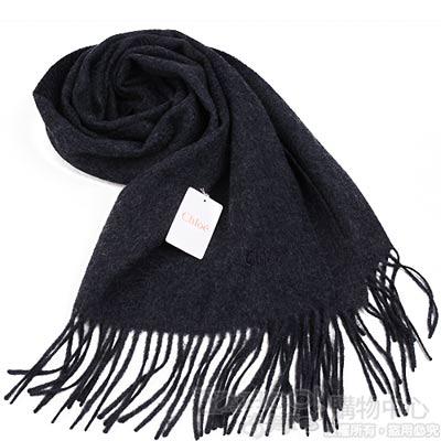 Chloe 高質感喀什米爾100%刺繡LOGO圍巾(黑灰)