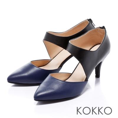 KOKKO經典尖頭-女神風範斜切中空高跟鞋-知性蘭