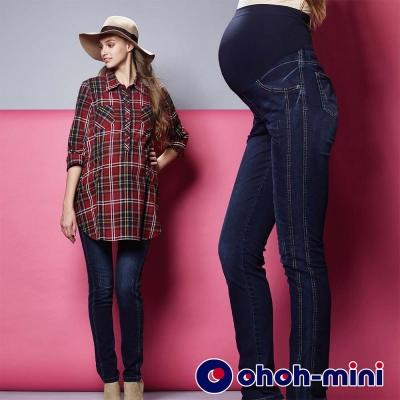 ohoh-mini-孕婦裝-時尚丹寧小直筒孕婦褲-深藍