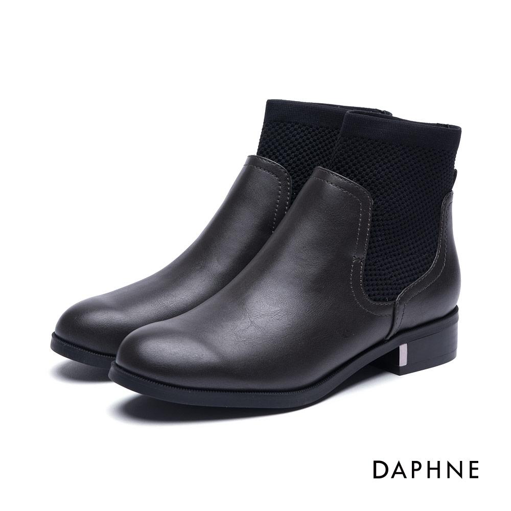 達芙妮DAPHNE 短靴-金屬飾片拼接彈性布牛紋踝靴-深灰