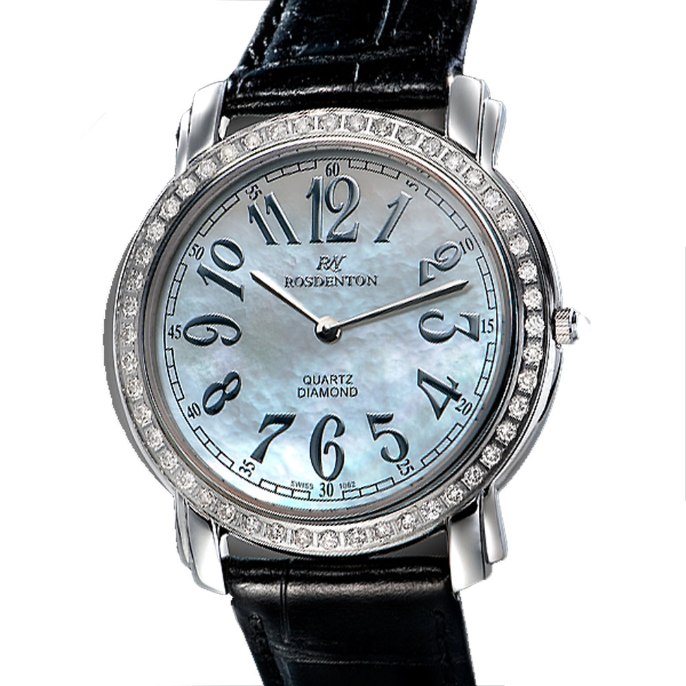 ROSDENTON 勞斯丹頓玩味時間晶鑽真皮手錶-珍珠貝X黑/25mm