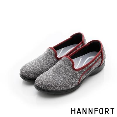 HANNFORT EASY WALK輕盈針織動能氣墊健走鞋-女-率性灰
