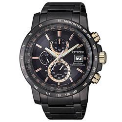 CITIZEN星辰 廣告款光動能萬年曆電波錶(AT8127-85F)-黑x玫瑰金/43mm
