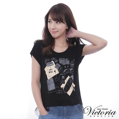 Victoria 隨性印花網紗拼接T-女-黑色