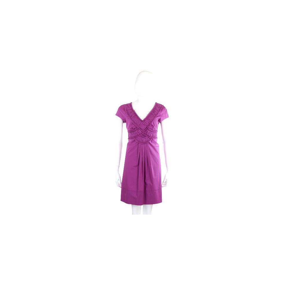 PHILOSOPHY 紫色抓褶短袖V領洋裝