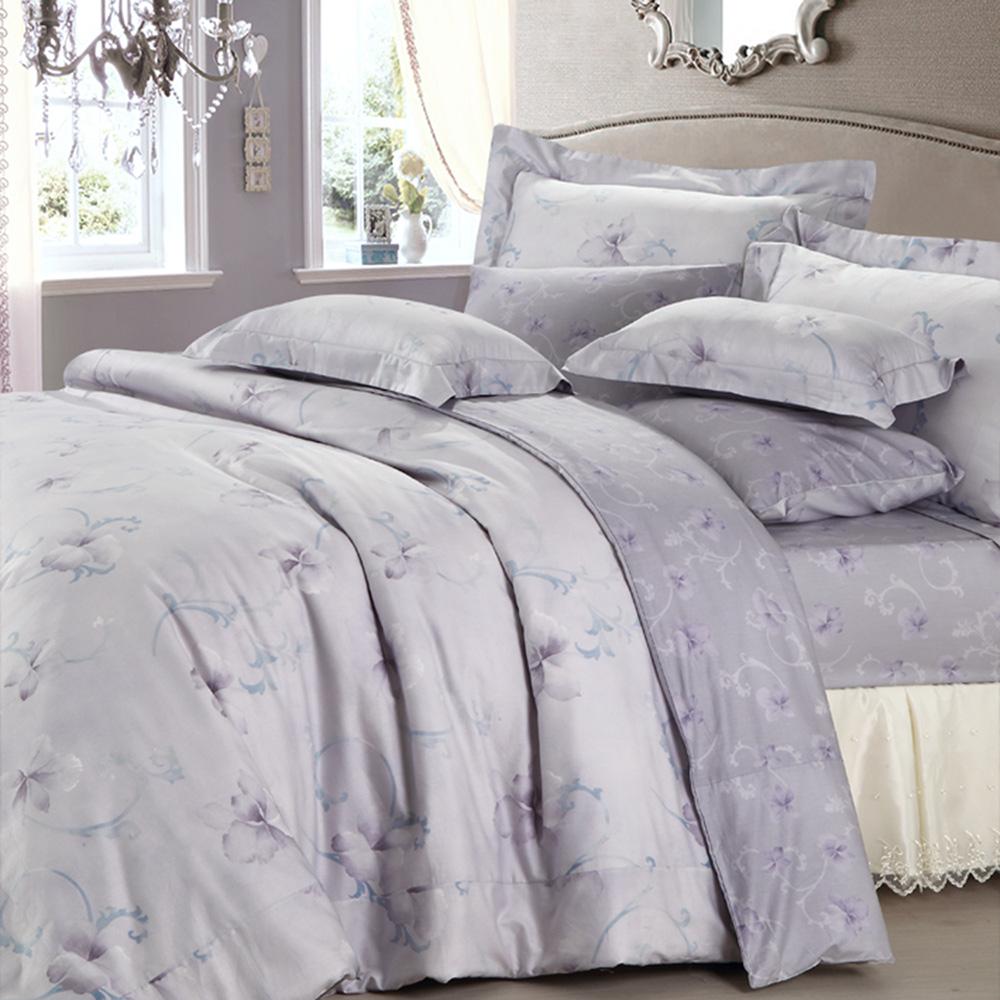 HOYACASA 花語如詩-紫 絲棉加大四件式兩用被床包組