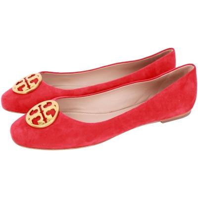 TORY BURCH Chelsea 黃銅標誌麂皮娃娃鞋(紅色)
