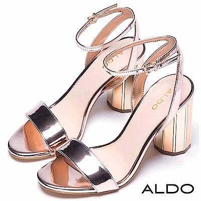 ALDO 原色一字繞踝繫帶圓柱金屬跟涼鞋~時尚香檳