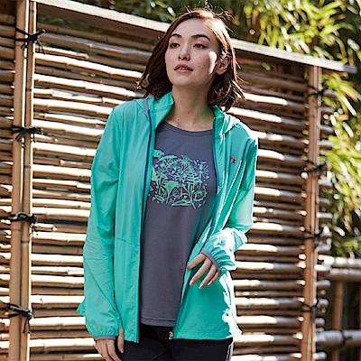 【Wildland 荒野】女可溶紗環保吸排透氣外套綠