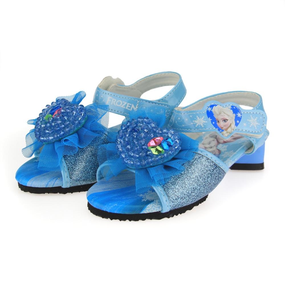 迪士尼 美國-中童 冰雪奇緣低跟涼鞋-水藍