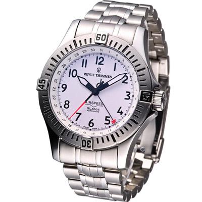 REVUE THOMMEN 梭曼空中霸王機械腕錶-白/44mm