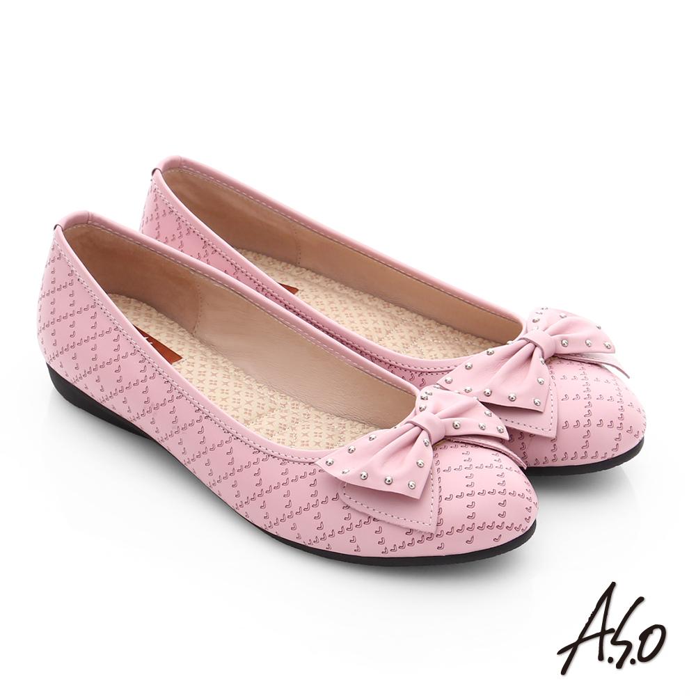A.S.O 親漾漫步 真皮鉚釘蝴蝶結飾格紋平底鞋 粉紅色