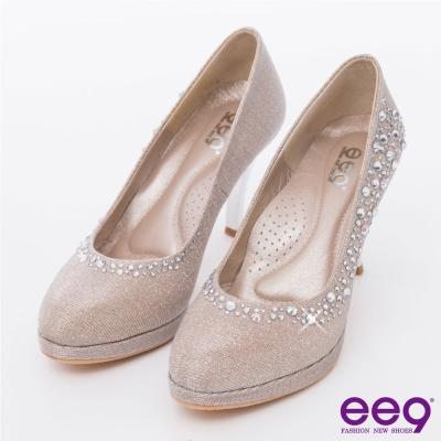 ee9 心滿益足~驚豔美人進口閃亮斜紋布夢幻亮鑽高跟鞋*米色