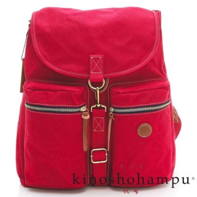 kinoshohampu-單車旅行系列 輕量帆布後背包 紅色