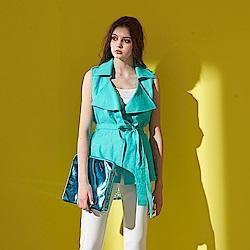ICHE 衣哲  時尚翻領綁帶風衣式造型背心上衣(兩穿)-綠